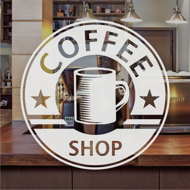 Coffee Shop Cafe Window Sign Stickers Restaurant Graphic Decal - Frosted Vinyl, 2019
