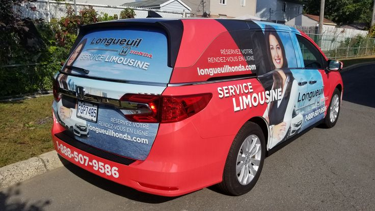 """Complete vehicle wrap on 2018 Honda Odyssey EX Touring for Longueuil Honda to promote """"Service Limousine"""""""