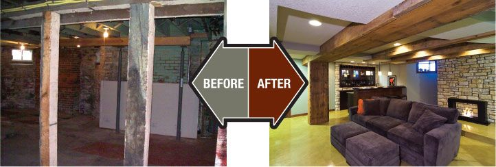 Old homes before and after finished basement company for Remodeling old homes