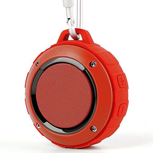 Outdoor Waterproof Bluetooth Speaker,Kunodi Wireless Portable Mini Shower Travel Speaker with Subwoofer, Enhanced Bass, Built in Mic for Sports, Pool, Beach, Hiking, Camping (Red) - Specification: Power: 4R 3W Voltage: DC 5V Battery: 600 MAH Weight: about 250g Play Time: 4-5 hours Charging time: 2-3 hours Signal range: about 10 meters Size: 71mm * 45mm(diameter * high) Frequency Response: 120Hz-20 KHz Feature: IPX45 waterproof ,Shockproof, Dustproof Compability: suit for sma...