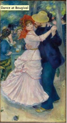 "I like Boston. I always enjoy visiting the Boston Museum of Fine Arts, not least for their amazing Monet collection. But I am fond of their many Renoir paintings also. This, ""Dance at Bougival,"" is enchanting, but alarming. There is something withheld or withdrawn in the young lady's countenance, and the man's ardor may be too much, not entirely welcome. Or am I looking with the eyes of 2013 too much?"