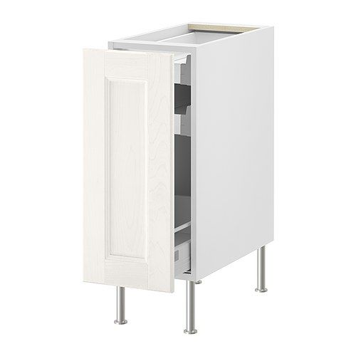 "AKURUM Base cabinet with pull-out storage - white, Ramsjö white, 12 "" - IKEA, Alternate for laundry detergent storage, $170"