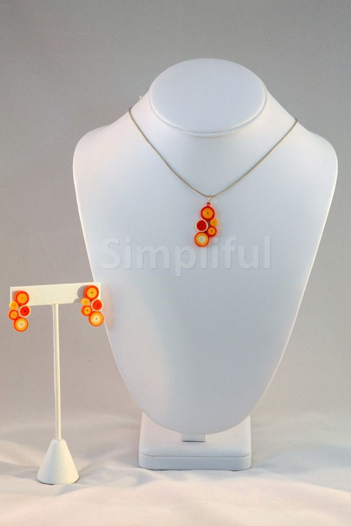 Paper Quilling Orange Circles Pendant and Earring Set