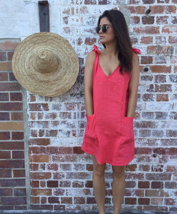 Linen Drifter Dress Linen V Neck Dress  Short by ljcdesignss