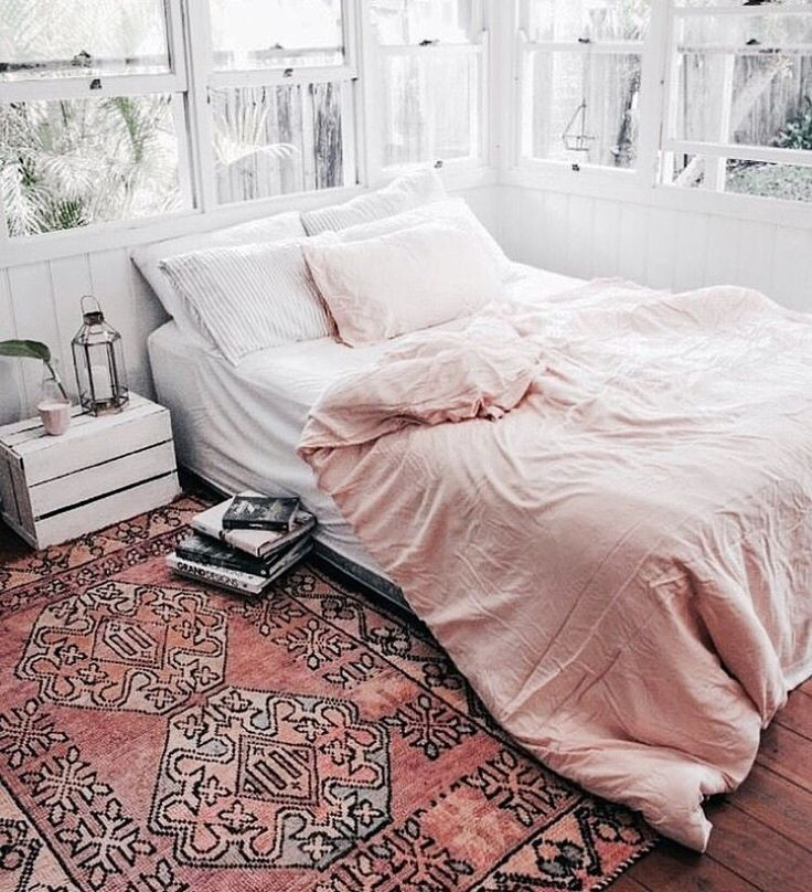 cozy bedroom with white crate bedside table