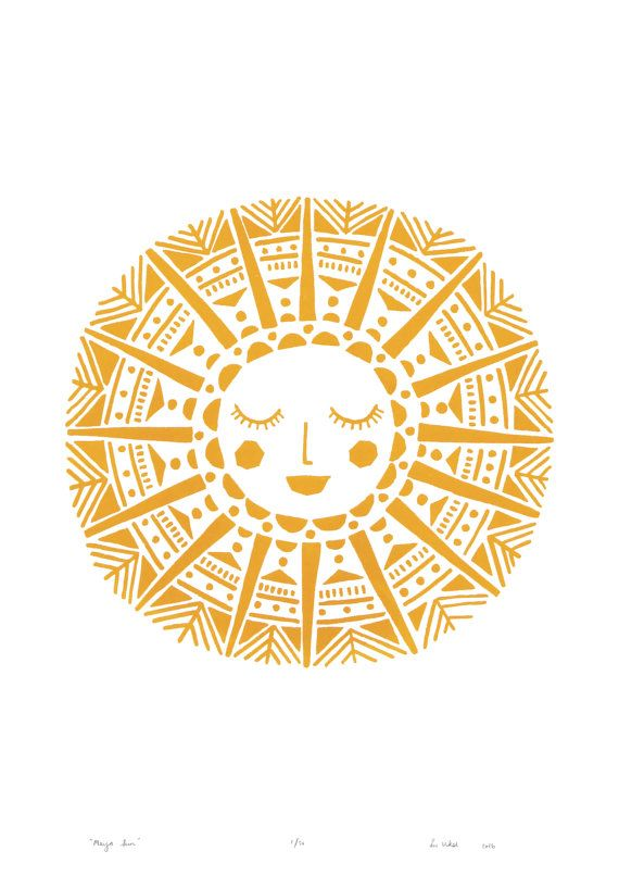 Hello Sunshine! Silkscreen print of a bright smiling Sun. Inspired by Peruvian and Midcentury patterns and printed by hand in Lus Kew Gardens,