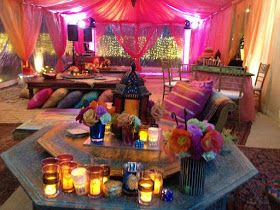 Room set up for Moroccan/Henna Bridal Shower