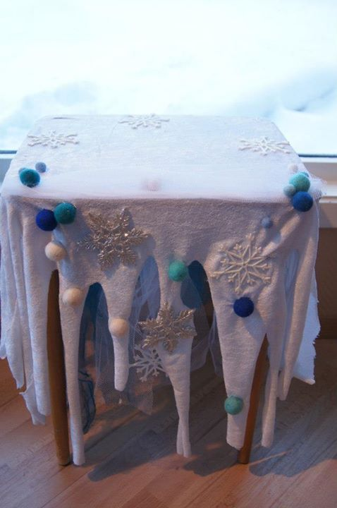 Frozen themed table cloth, icicles, snow, snowflakes, snow table cloth.