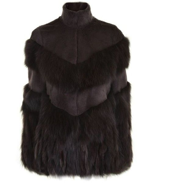 Just Cavalli Rabbit And Fox Fur Jacket ($1,795) ❤ liked on Polyvore featuring outerwear, jackets, deep taupe, just cavalli, fox fur jacket, just cavalli jacket, long sleeve jacket and rabbit fur jacket