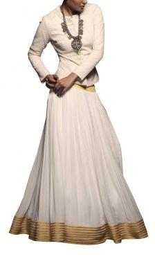 White Jacket With Pleated Lehenga | Strandofsilk.com - Indian Designers