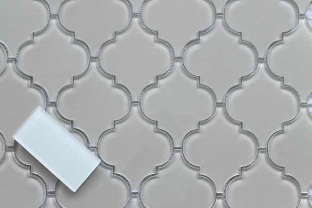 Country Cottage Light Taupe Arabesque Glass Mosaic Tiles, 10 Square Feet mediterranean-mosaic-tile