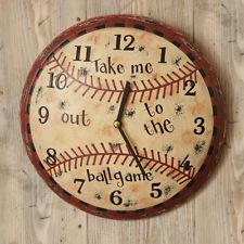 Primitive Baseball Wall Clock Man Cave Game Room Boys Decor Distressed Vintage