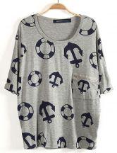 Grey Batwing Sleeve Anchor Lifebuoy Print T-Shirt #SheInside