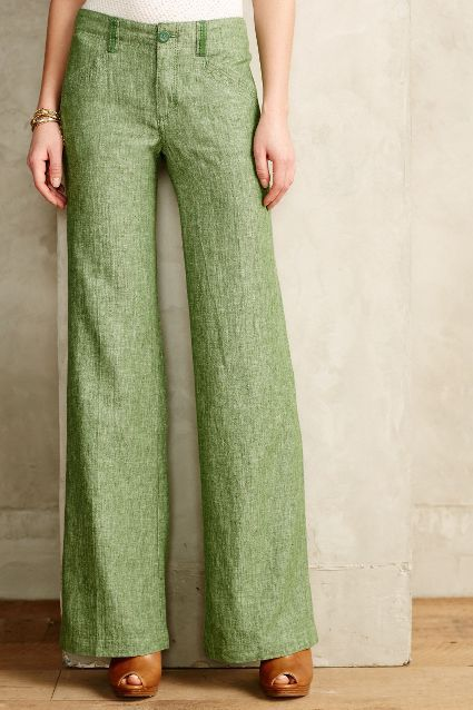 Pilcro Herringbone Linen Trousers - anthropologie.com