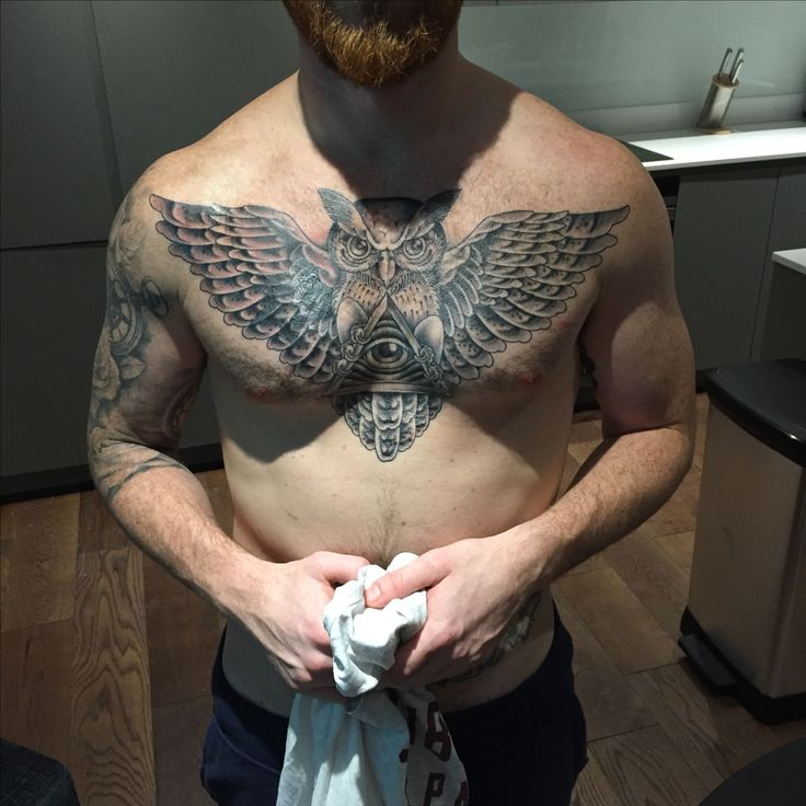 Owl chest tattoo cover up