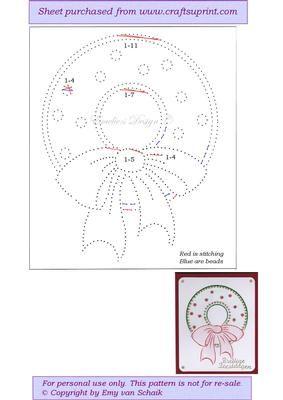 ED111 Christmas wreath on Craftsuprint designed by Emy van Schaik - Stitching…