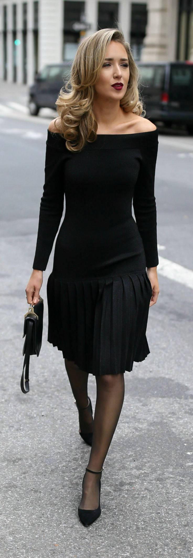 30 DRESSES IN 30 DAYS: Engagement Party //  Black off the shoulder pleated knit sparkle dress, black suede ankle-strap pumps, black structured mini bag, sheer black tights and a dark red lip {Rebecca Vallance, M2Malletier, Sam Edelman, what to wear to an