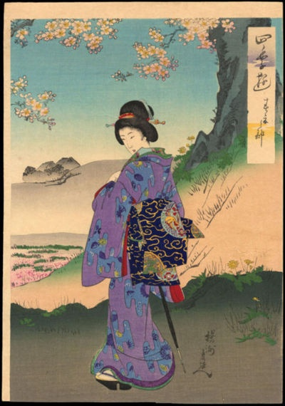 Chikanobu, Yoshu (1838-1912) Toyohara - Bijin in Spring