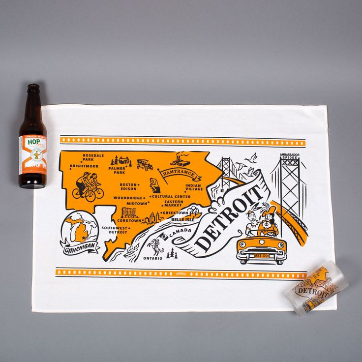 Beautiful vintage inspired Detroit artwork makes these flour sack towels stand out! Heavier and thicker than standard flour sack towels, these towels will get softer with every wash and last for years