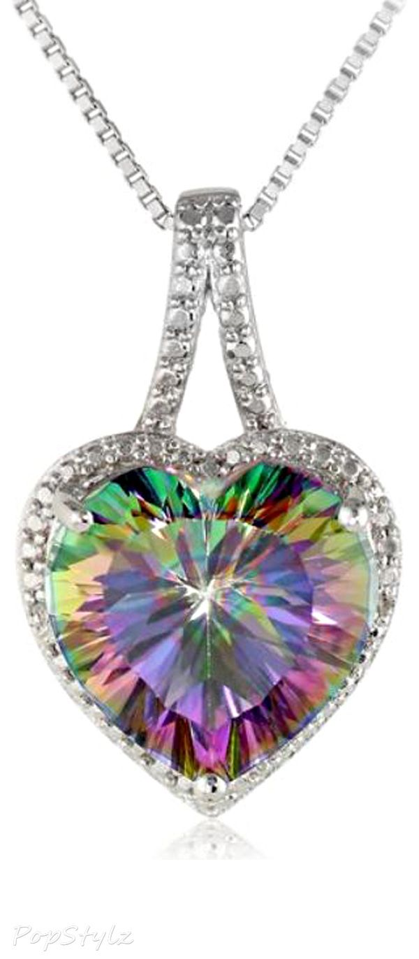 345 best diamond necklaces images on pinterest diamond necklaces sterling silver and mystic fire topaz diamond accented heart pendant necklace 18 aloadofball Image collections