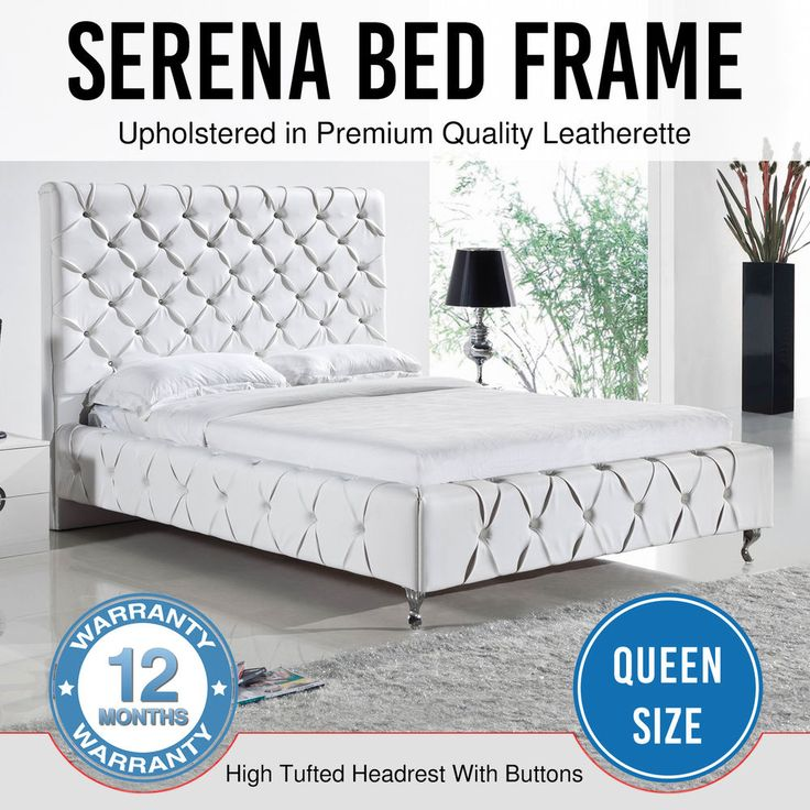 Bed Frame Faux Leather White Crystals Bentwood Slat Metal Frame Queen Serena