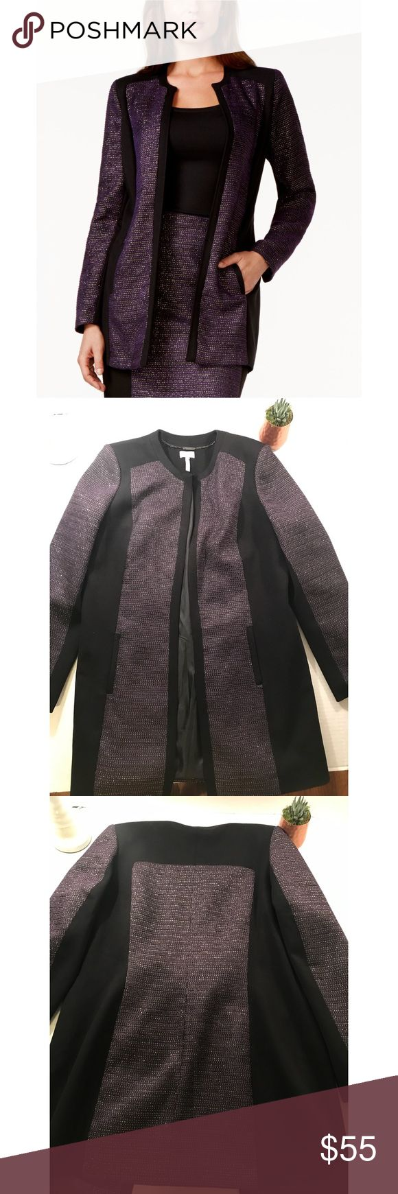 Laundry- Shelli Segal Tweed Career Jacket Sz 12 Laundry by Shelli Segal Metallic Tweed Bloucle Career Jacket Black/Purple Sz 12  Perfect Condition.  Measurements are all laying flat: Length 34 Bust 21 Sleeve Length 27 sku#S5 Laundry By Shelli Segal Jackets & Coats