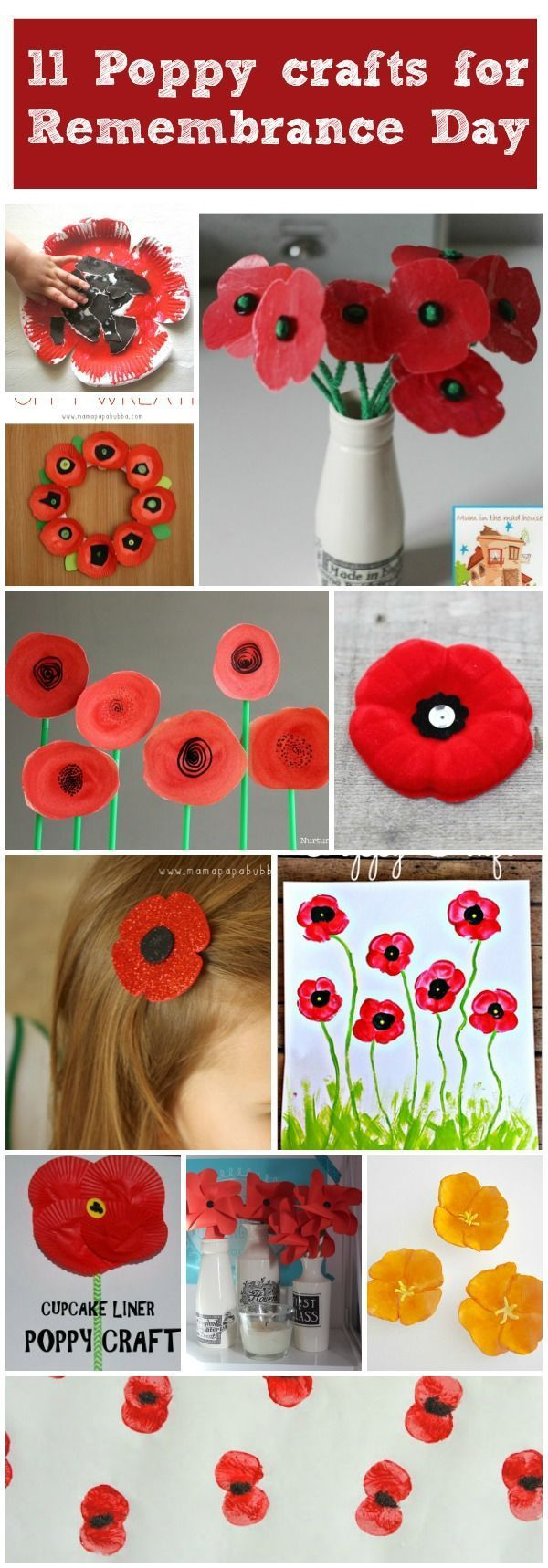 11 more Poppy crafts for Remembrance Day. Remember the fallen with these fab kids poppy craft, which are perfect for remembrance day, memorial day and Armistice day.