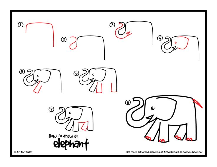 How To Draw An Elephant Art For Kids Hub Drawings