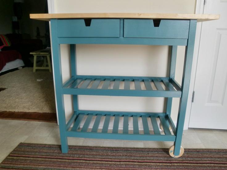 Kitchen Cart Done Teal Ikea Kitchen Cart And Kitchen