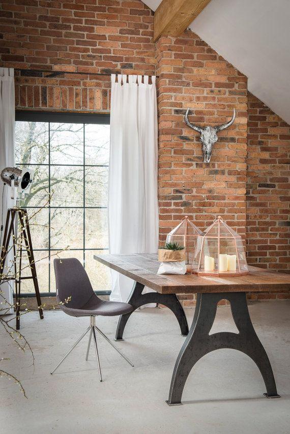 Vintage Industrial C-frame Table by KORNIK on Etsy