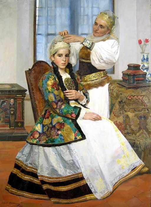 Brukenthal museum in Sibiu in Romania- traditional wedding dress