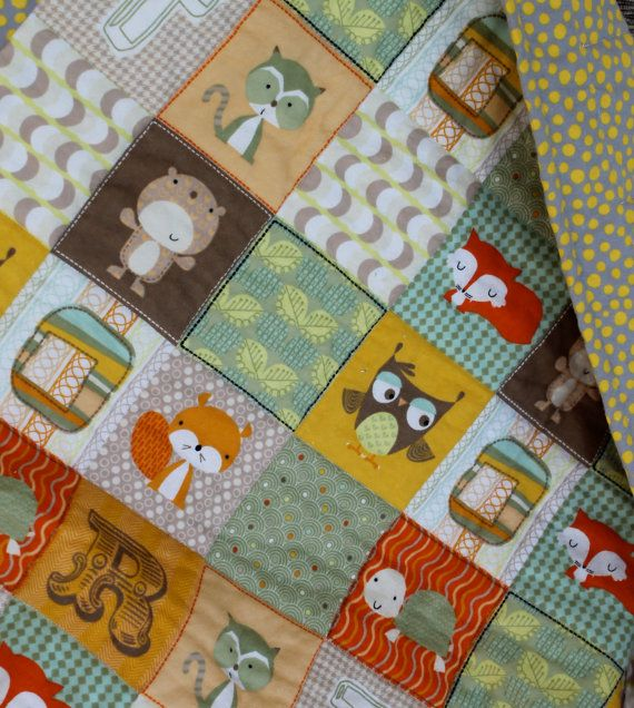 Woodland Animal Flannel Baby Quilt Quilted Blanket Quilt