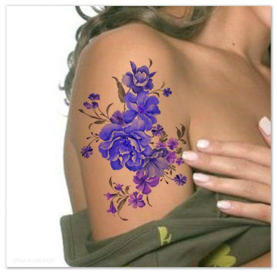 Tijdelijke Tattoo schouder bloem Ultra dunne realistische nep