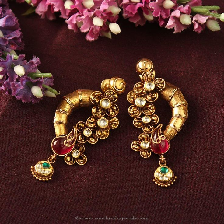 Gold Designer Earrings Designs, Gold Fancy Earrings Designs.