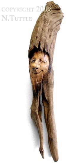 """Elfin Woods""   This mysteriously cute wood spirit measures 15½  inches tall and 3½ inches across his widest point.     Signed and dated:  N. Tuttle 11/13/13"
