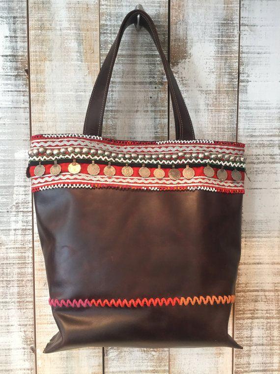 Bohemian leather bag boho leather purse boho tote bag by Percibal