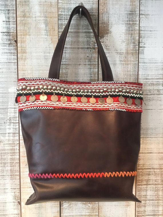 Bohemian leather bag boho leather purse boho tote bag by Percibal
