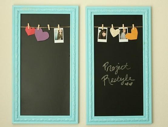 framed chalkboardsIdeas, Frames Chalkboards, Chalkboards Painting, Empty Frames, Chalk Boards, Old Frames, Pictures Frames, Chalkboards Frames, Kitchens Wall Art