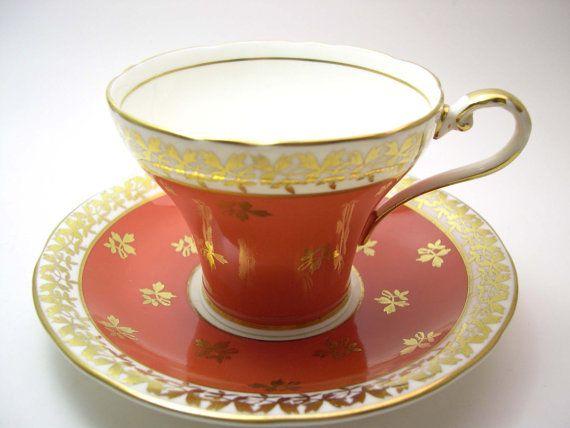 Orange  Aynsley  Tea cup and saucer set, Dark Orange and gold Tea cup and Saucer, Fine Bone China, Gold filigree