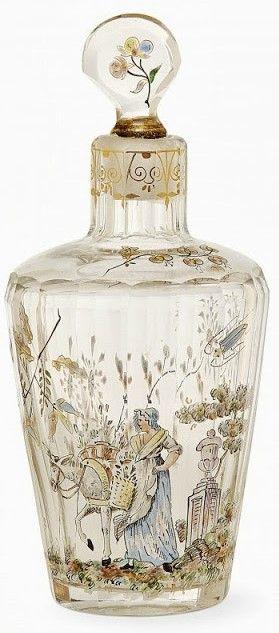 Émile Gallé, Flacon en verre translucide au décor d'une paysanne lorraine avec son âne, vase sur piédestal, plantes, coléoptères, papillons signé E. Gallé à l'or -