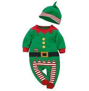 Nouveau-né Bébé Ensembles de vêtements Garçon Fille Enfants Romper Chapeau Set Noël cadeau de Noël Père Noël Claus, Vert1, 6-12Mois