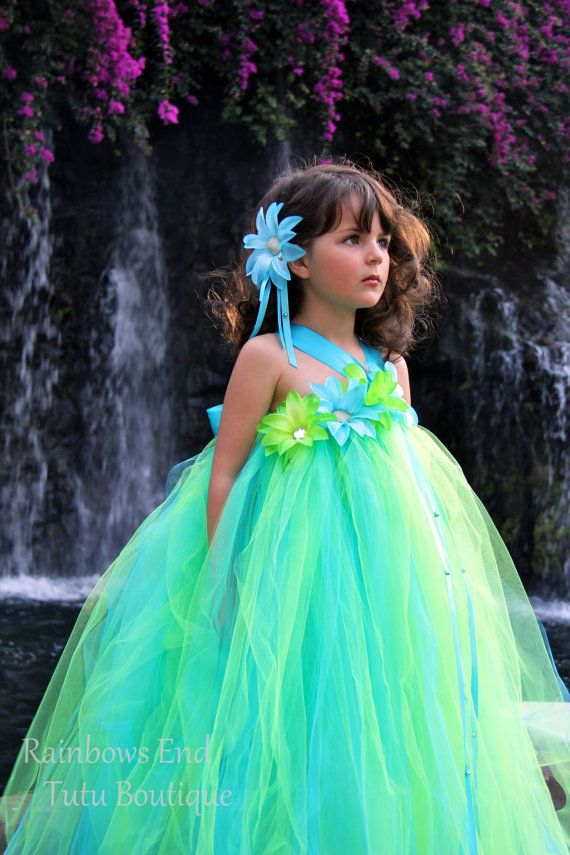 Mermaid Princess Flower Girl  Tutu Dress by Rainbows End Tutu Boutique