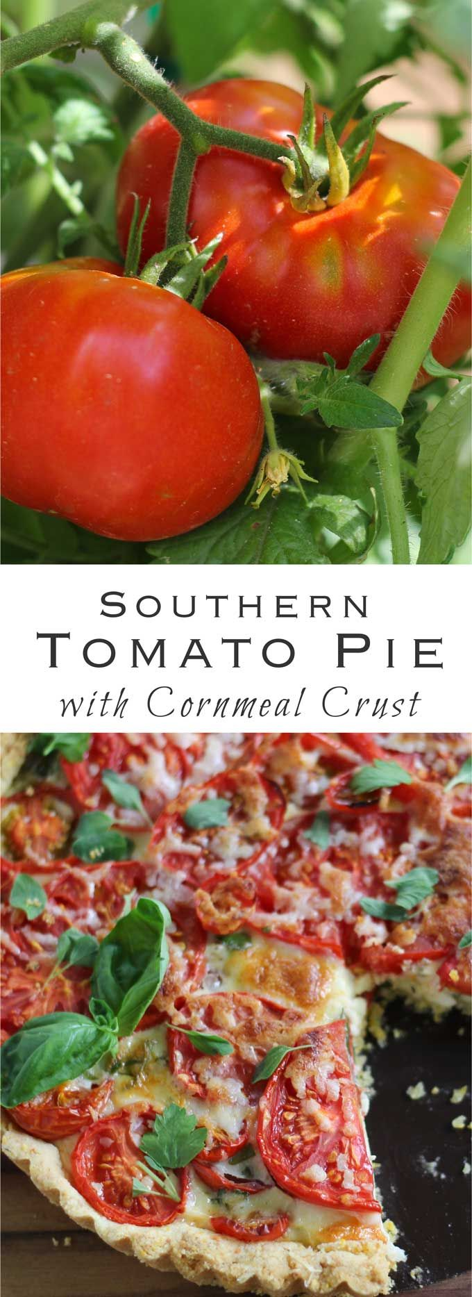 Southern Tomato Pie with a Cornmeal Crust. Gluten-free option, too.