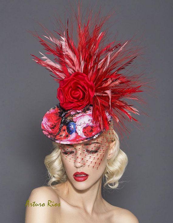 Red Floral fascinator Kentucky derby fascinator by ArturoRios