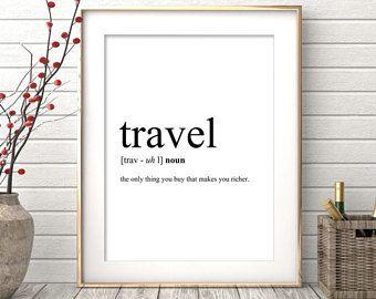 Definición, cotización de viaje para imprimir, imprimibles, palabra cartel, viaje palabra arte de la palabra, tipografía arte de pared, descarga inmediata de viaje de viaje