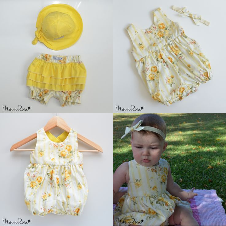 "Our ""Sunshine Rose"" collection is just beautiful! It is by far our most popular collection.Made from 100% cotton, this beautiful fabric of yellow roses is a must have for your baby girl.Bloomers"