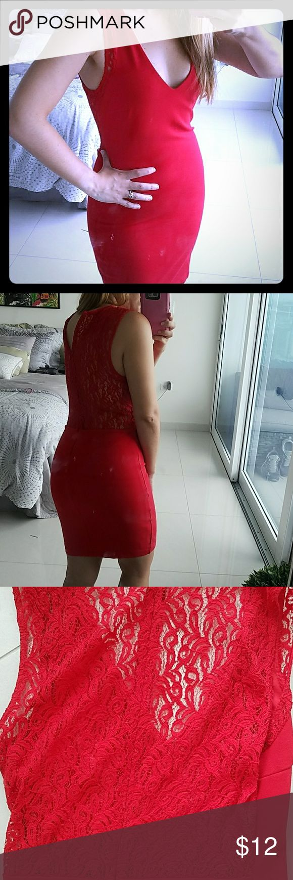 Trafaluc by ZARA red dress M Gorgeous body fitting dress runs a bit small more like a S. Has an awesome red lace back and some lace details in the front shoulders. Zara Dresses Mini