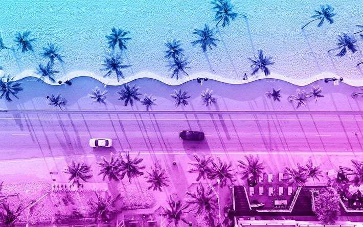 Download wallpapers 4k, road, beach, summer, palms, creative, material design