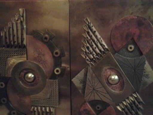 Origional copper art   two panels...thriftshop find....stunning