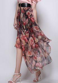 Florals Asymmetrical Hem Pleated Red Skirt